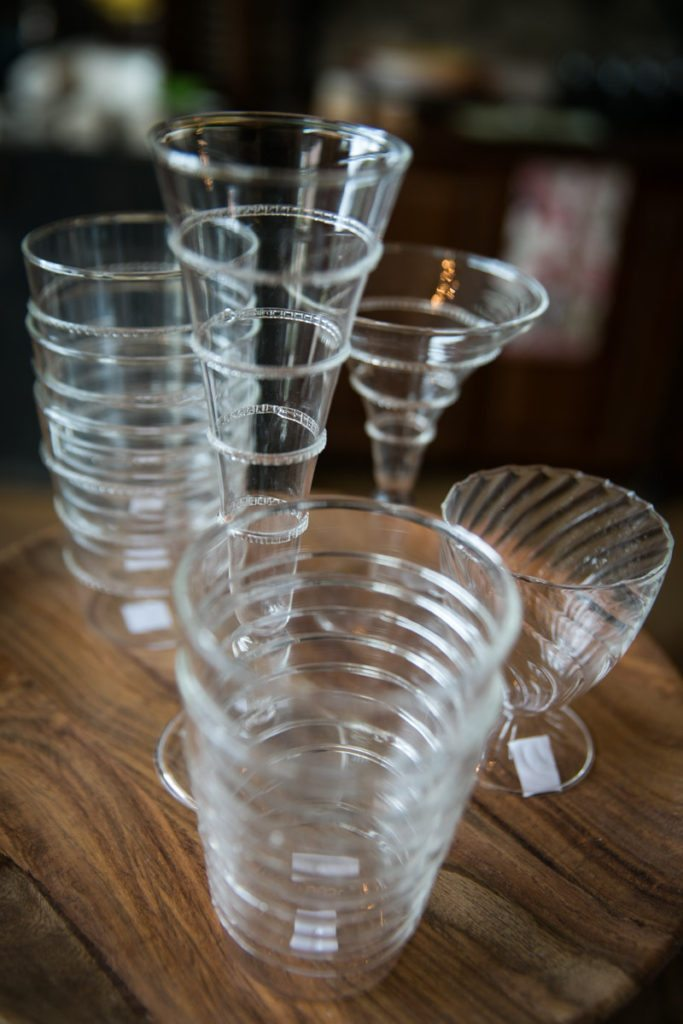 Detail of glassware for sale at the Oxford Exchange in Tampa, Florida