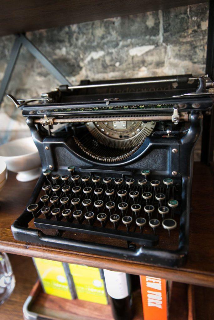 Detail of a typewriter displayed