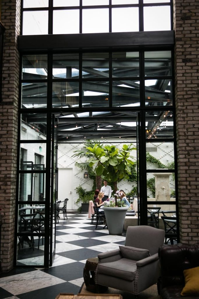 The conservatory in the restaurant of the Oxford Exchange in Tampa, Florida