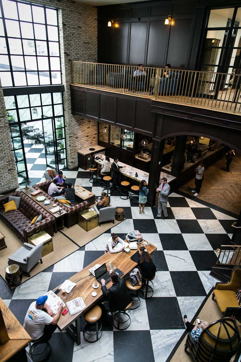 Wide shot of a seating area at the Oxford Exchange in Tampa, Florida