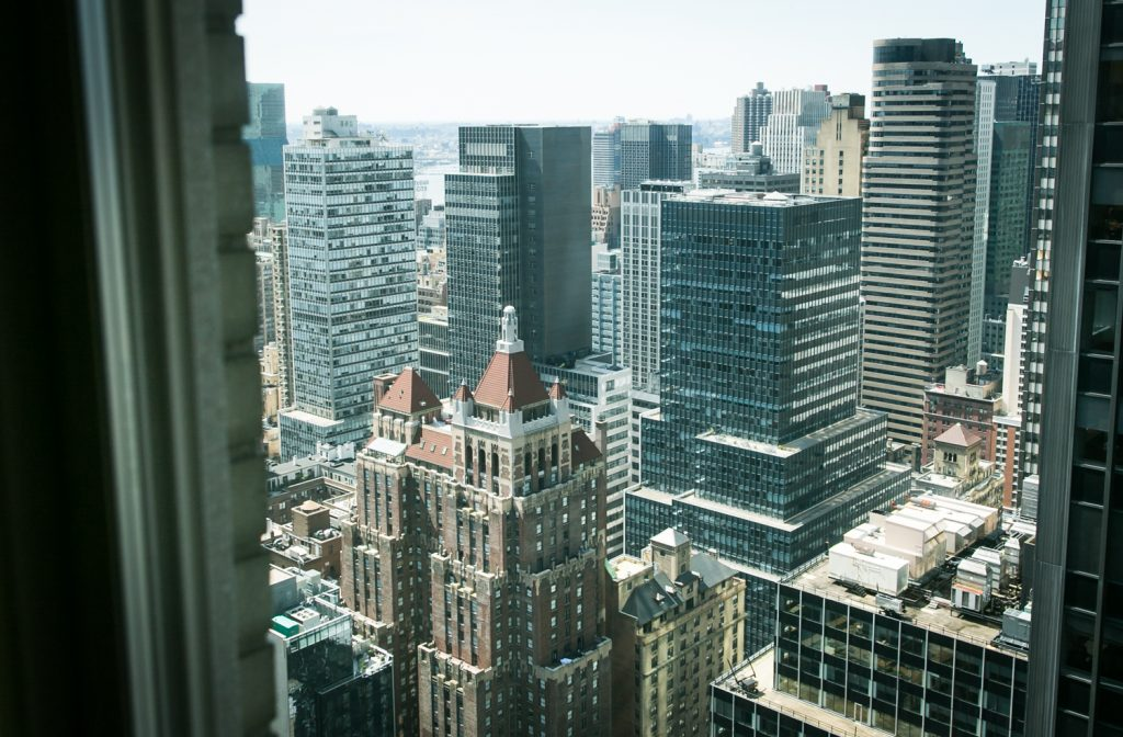 View outside Waldorf Astoria hotel room in NYC