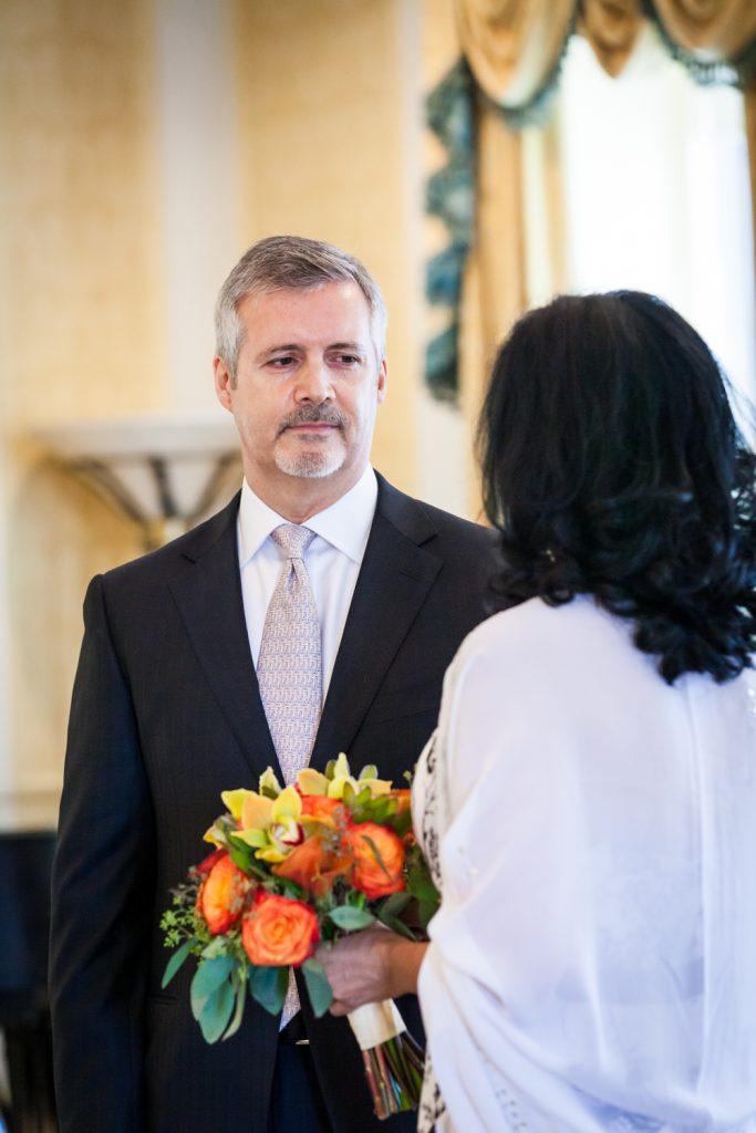 Close up of groom looking at bride at a Waldorf Astoria wedding