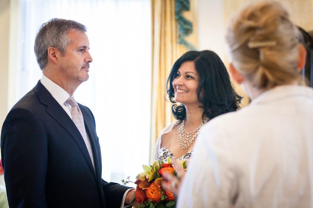 Close up of bride looking at groom at a Waldorf Astoria wedding