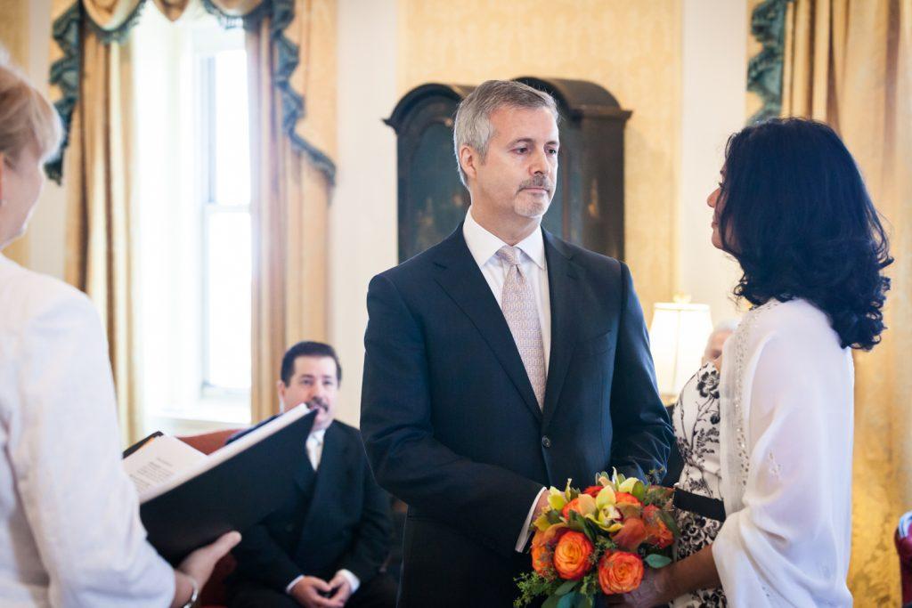 Bride looking at groom at a Waldorf Astoria wedding