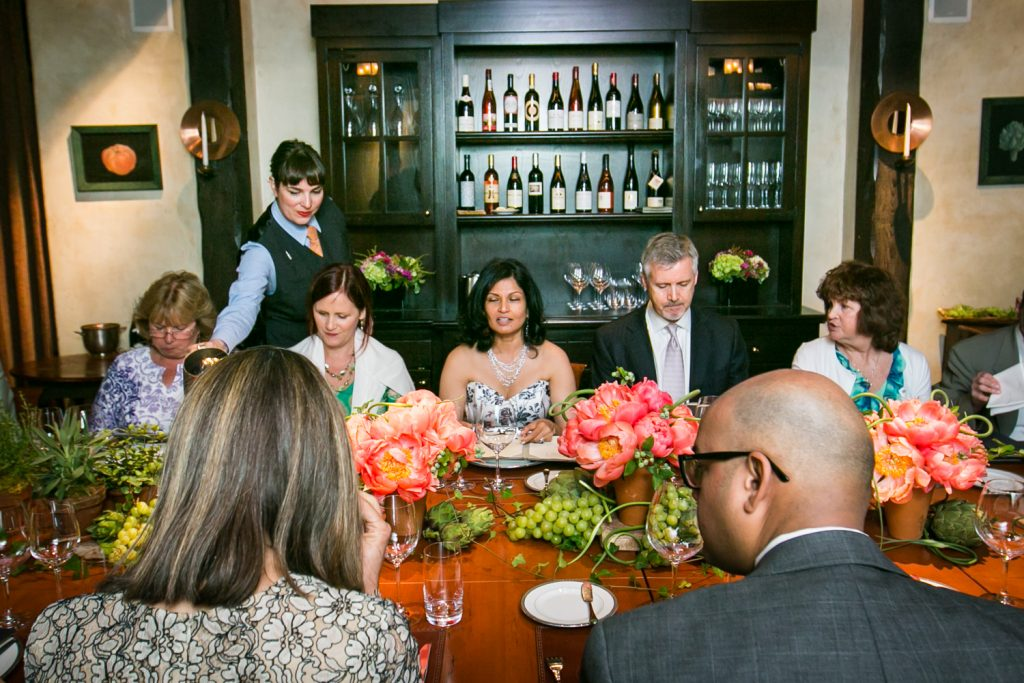 Table with guests at Gramercy Tavern wedding reception