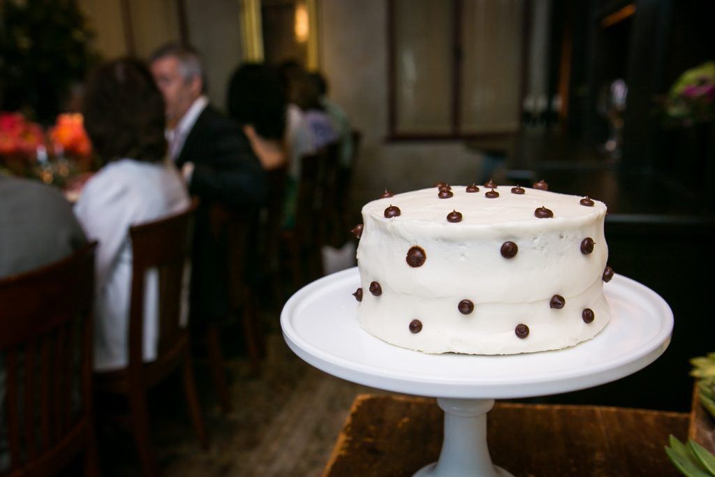 White cake with brown dots at Gramercy Tavern wedding reception