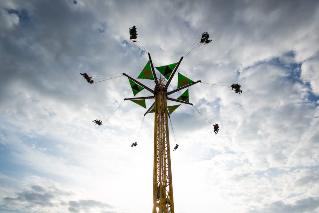 Amusement park rides at the county fair, by NYC photojournalist, Kelly Williams