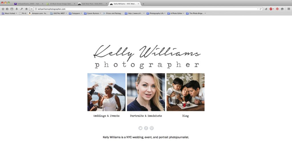 The new website splash page of NYC wedding photojournalist, Kelly Williams