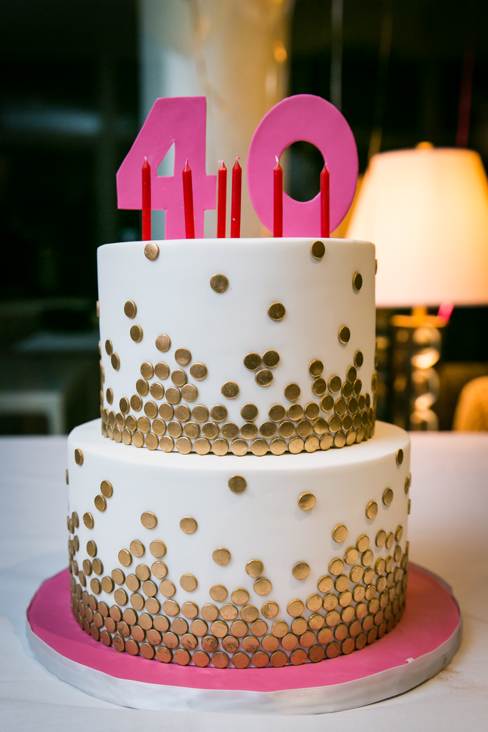 Close up on cake with the number 40 as cake topper
