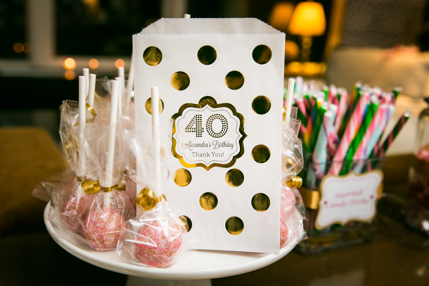 Close up on lollipops and printed candy bags