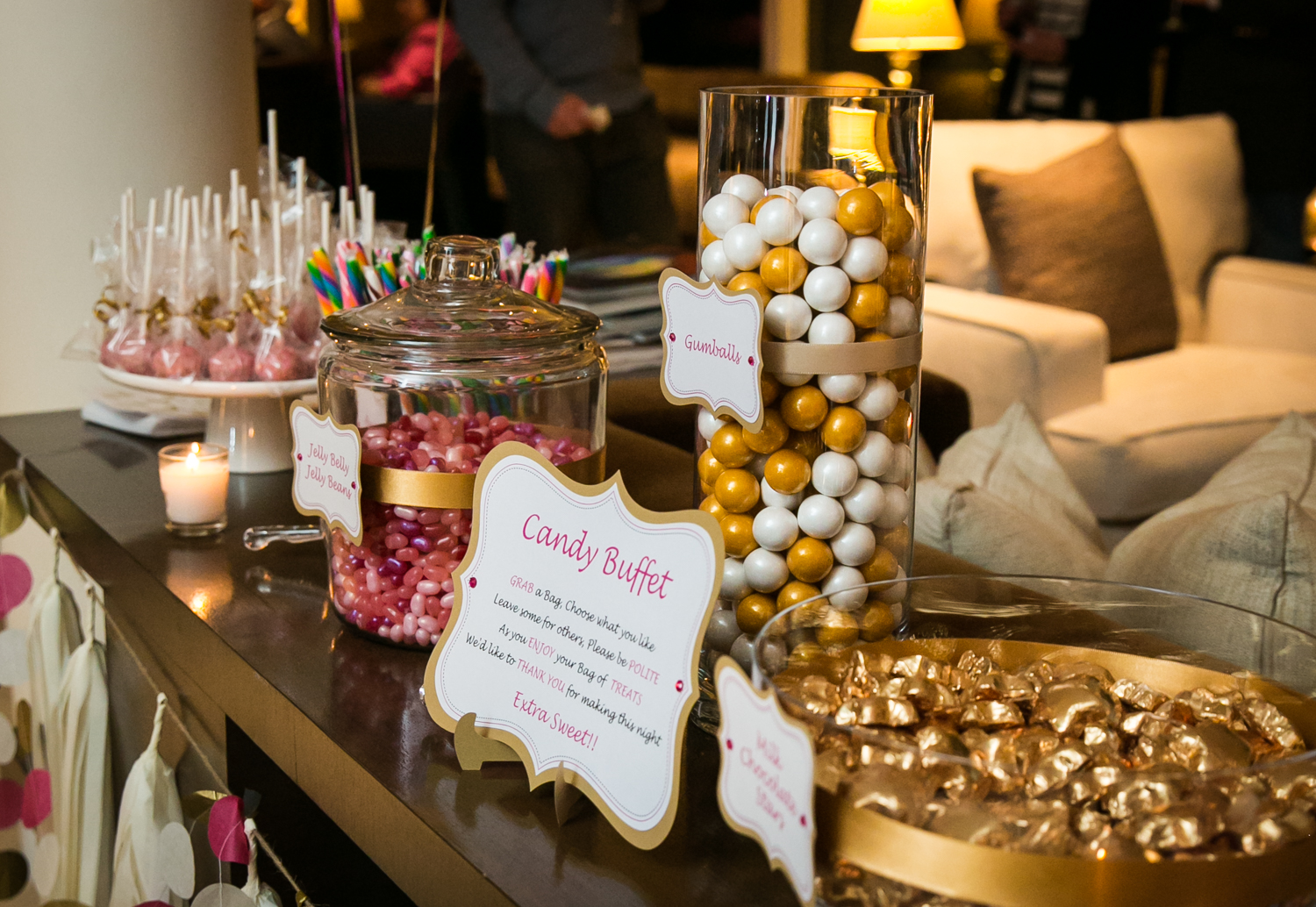 Candy buffet with gold-wrapped candies