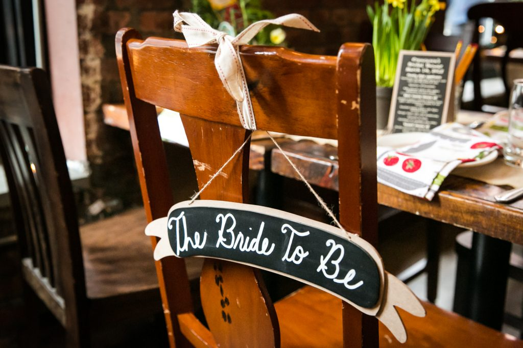 Chair with 'bride to be' sign