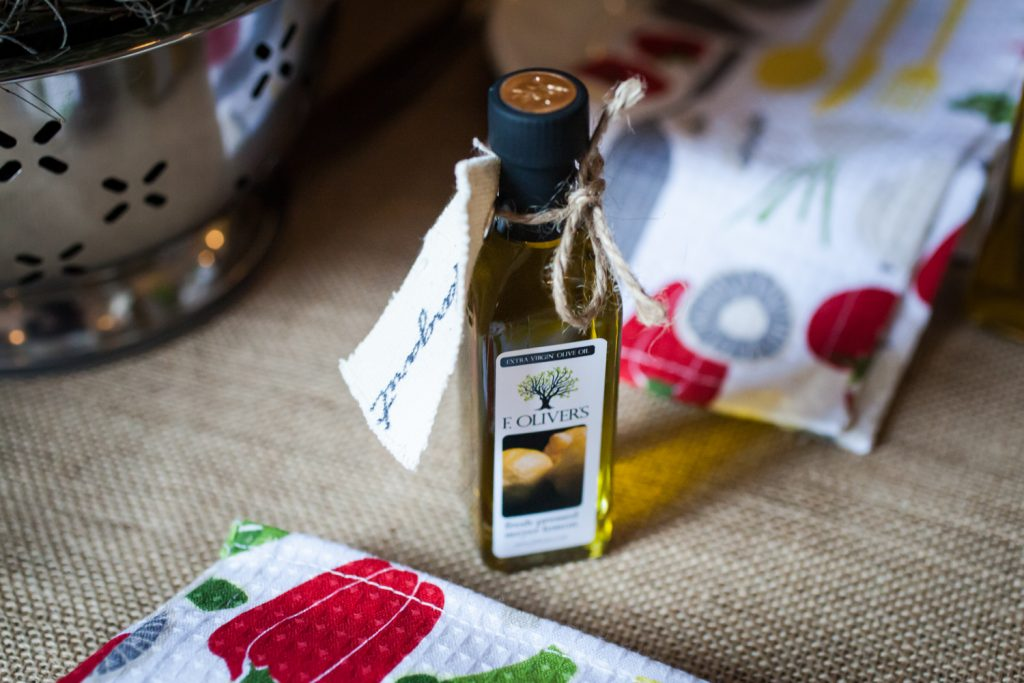 Small bottle of olive oil for guest favor