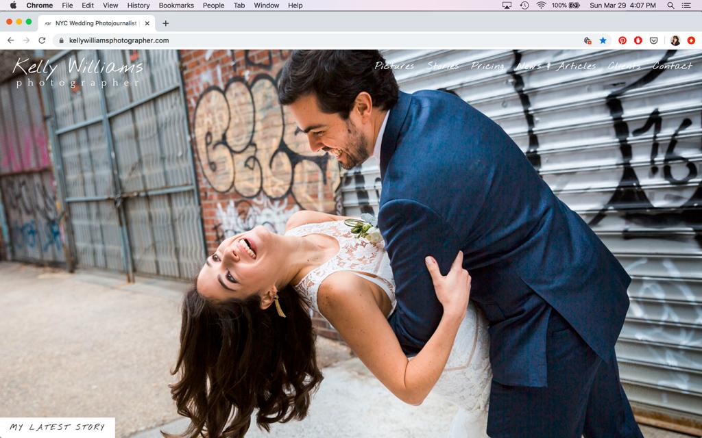 Screenshot of Kelly Williams, Photographer wedding and portrait website