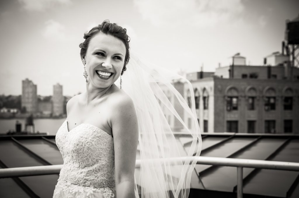 Portrait of bride on NYC rooftop for an article on how to get the wedding photos you want