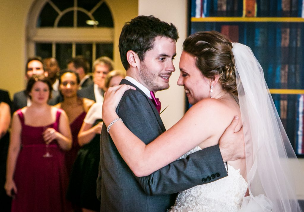 Bride and groom enjoying first dance for an article on how to get the wedding photos you want