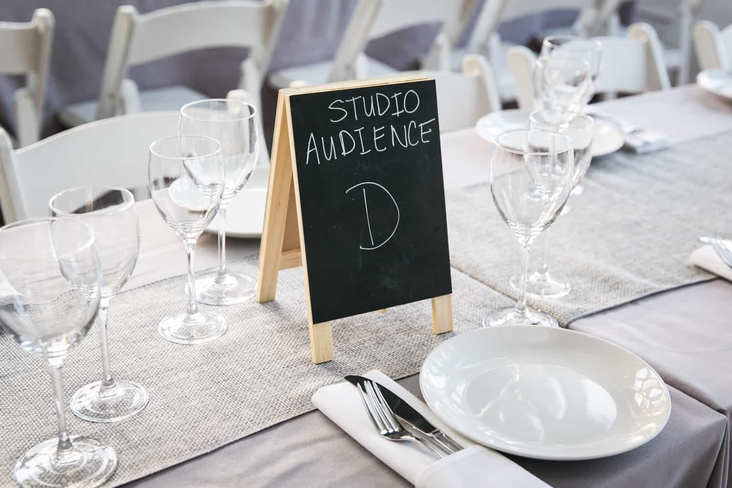 Table setting with mini blackboard table number