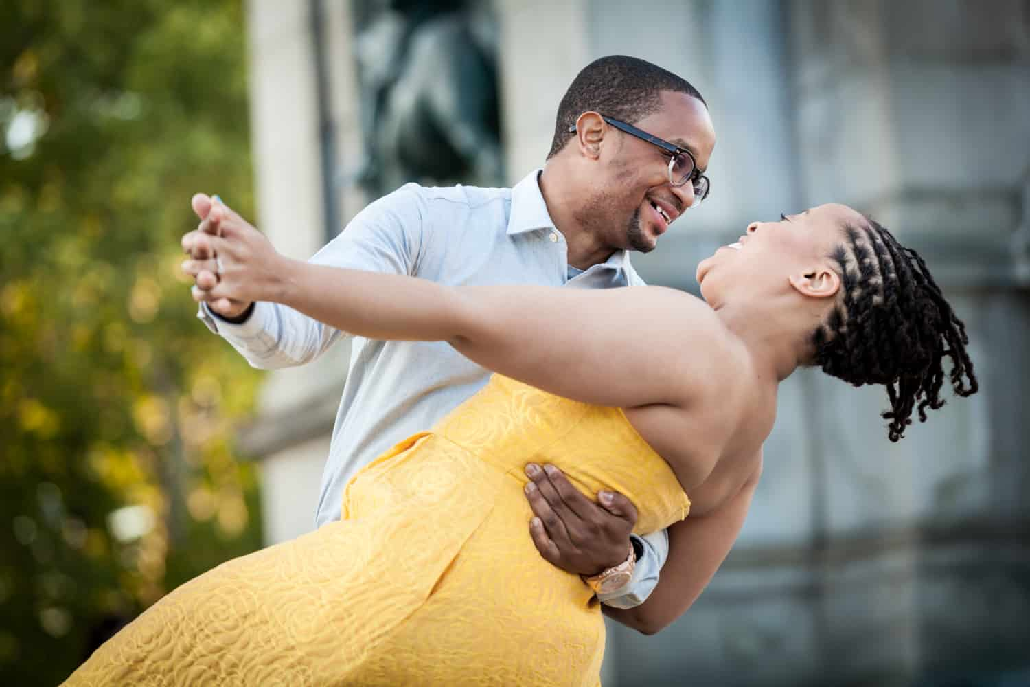 African American couple dancing at Grand Army Plaza