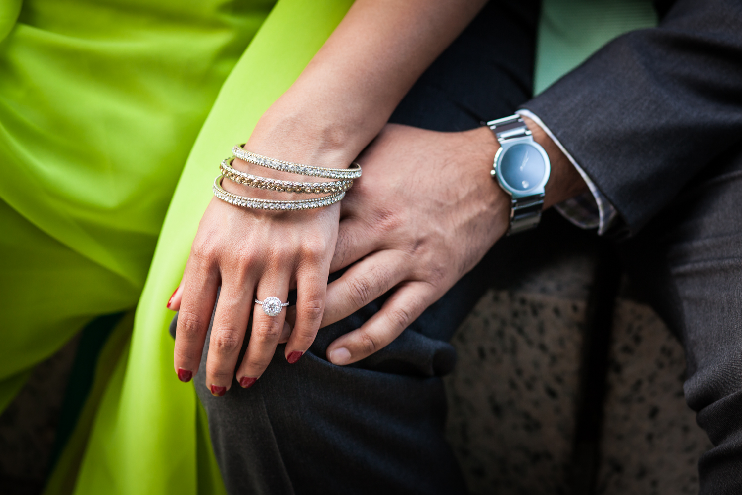 Close up on couple's hands
