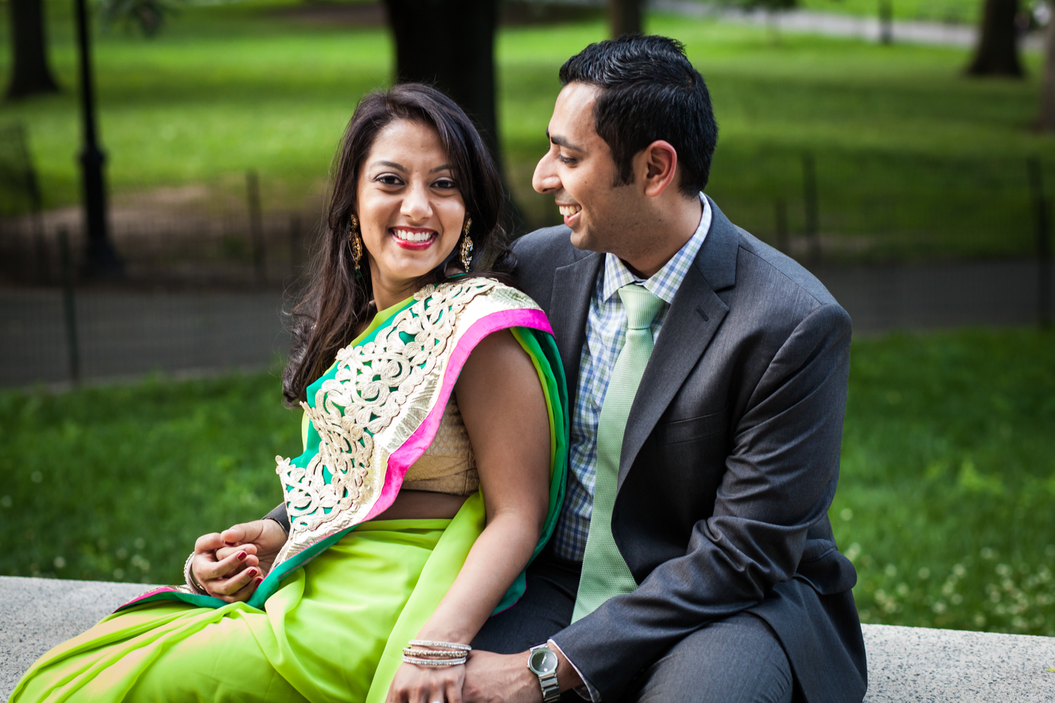 Indian couple in Central Park for an article on NYC engagement shoot ideas