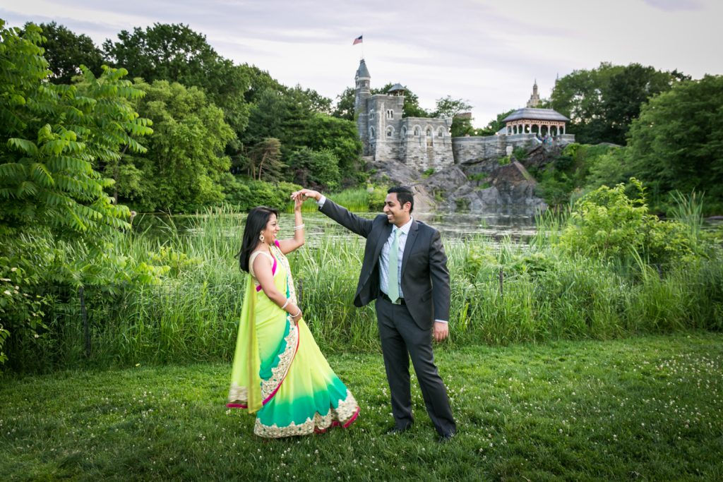 Indian couple dancing at a Central Park engagement shoot for an article on NYC engagement shoot ideas