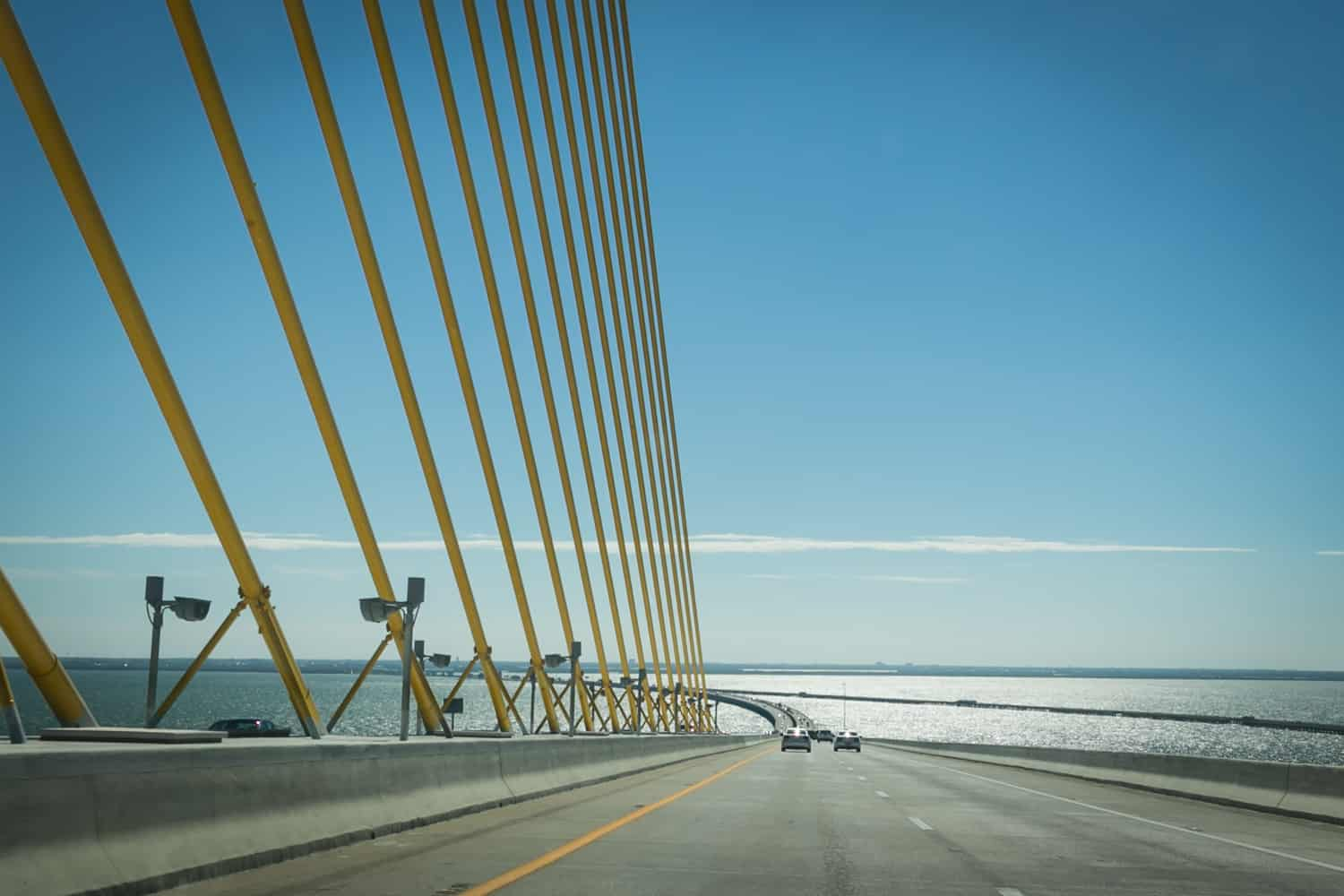 Photos of Sarasota including cars going over the Sunshine Skyway Bridge