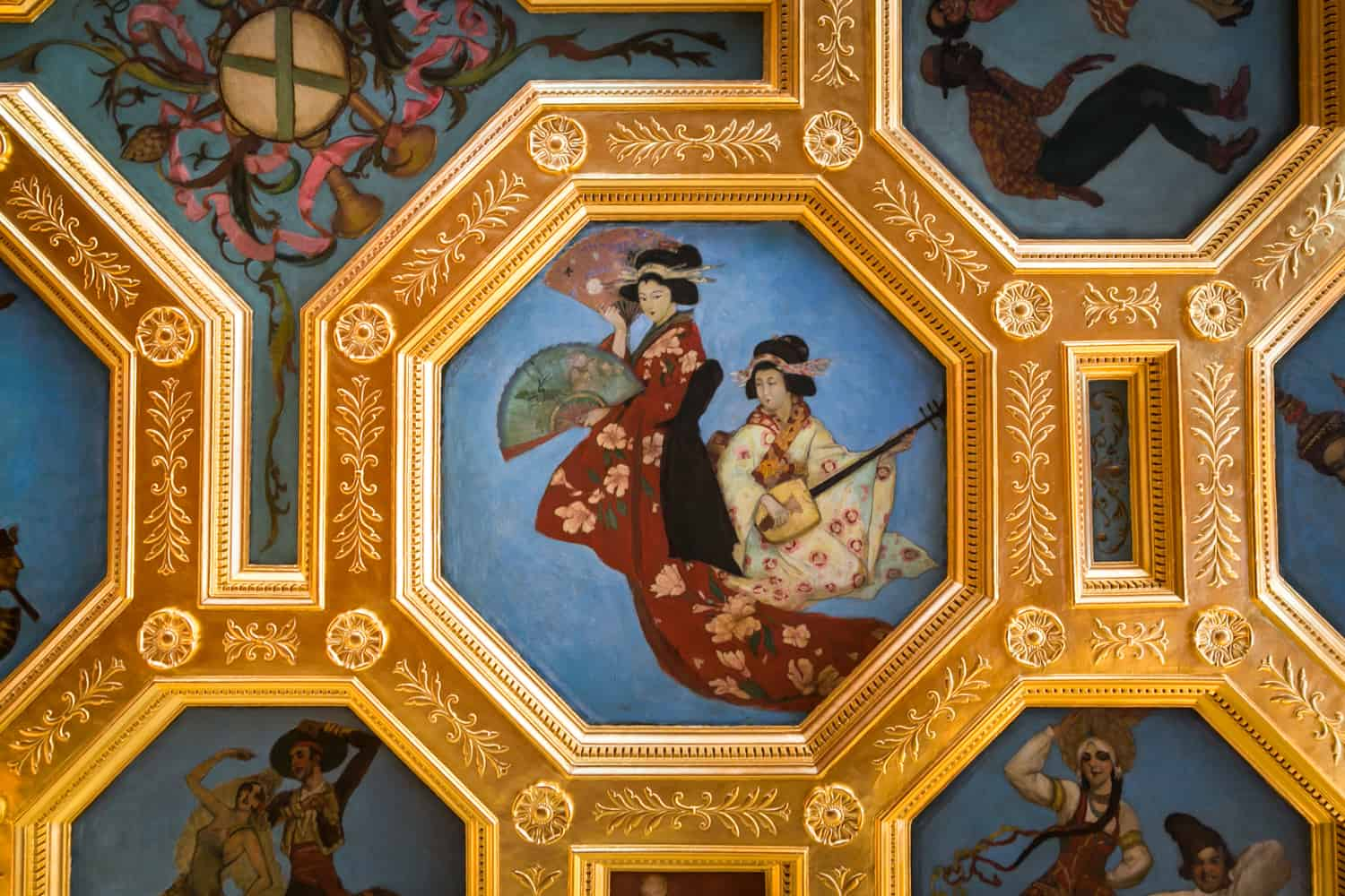 Photos of Sarasota including detail of ceiling at Ca d'Zan