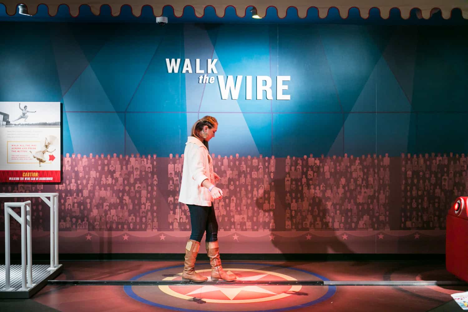 Photos of Sarasota including woman walking the wire in Circus Museum at The Ringling