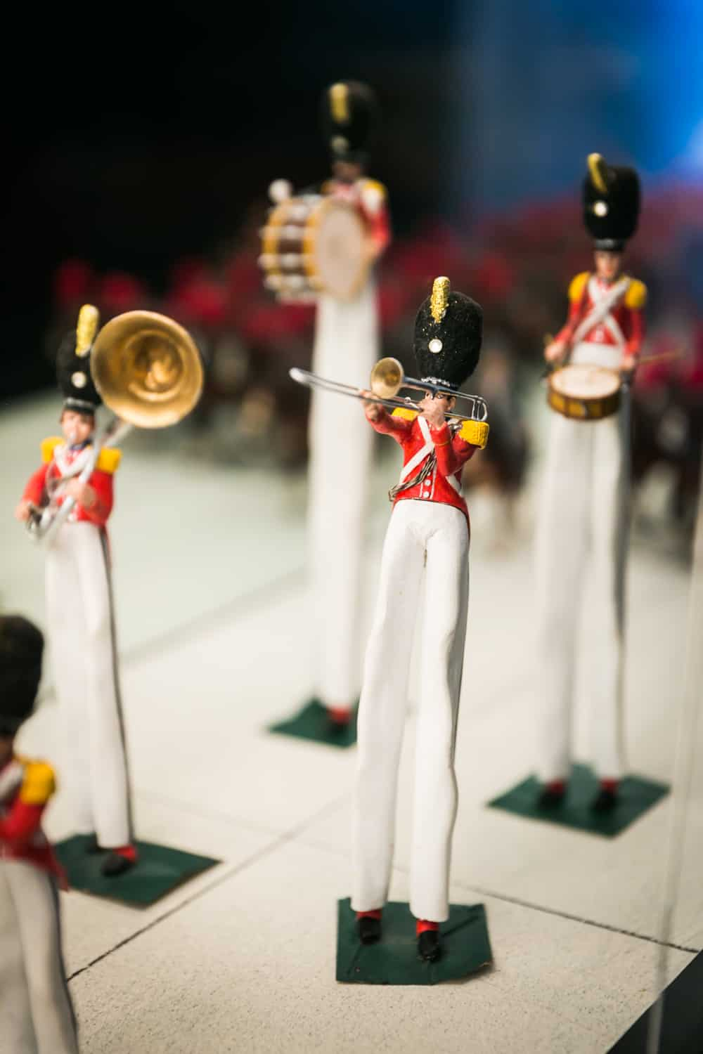 Miniature band performers with extra long legs