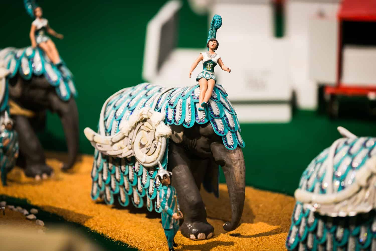 Miniature circus elephant and showgirl in Circus Museum