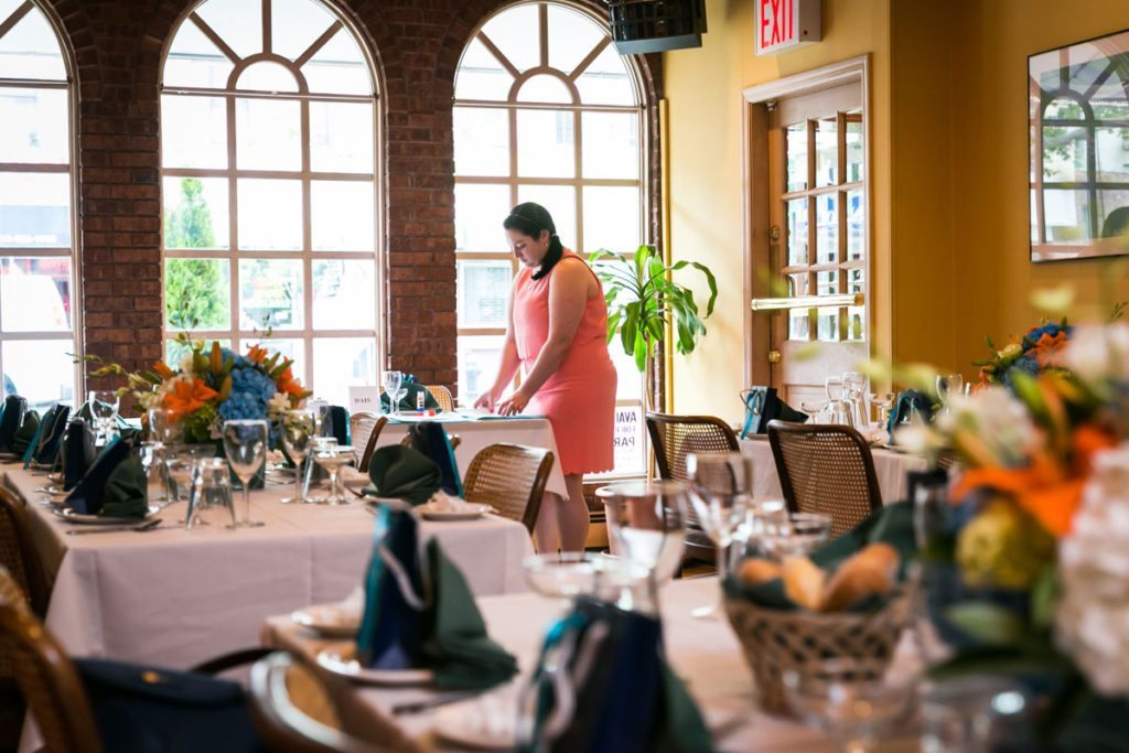 Preparing for the bridal shower by Bay Ridge bridal shower photographer, Kelly Williams
