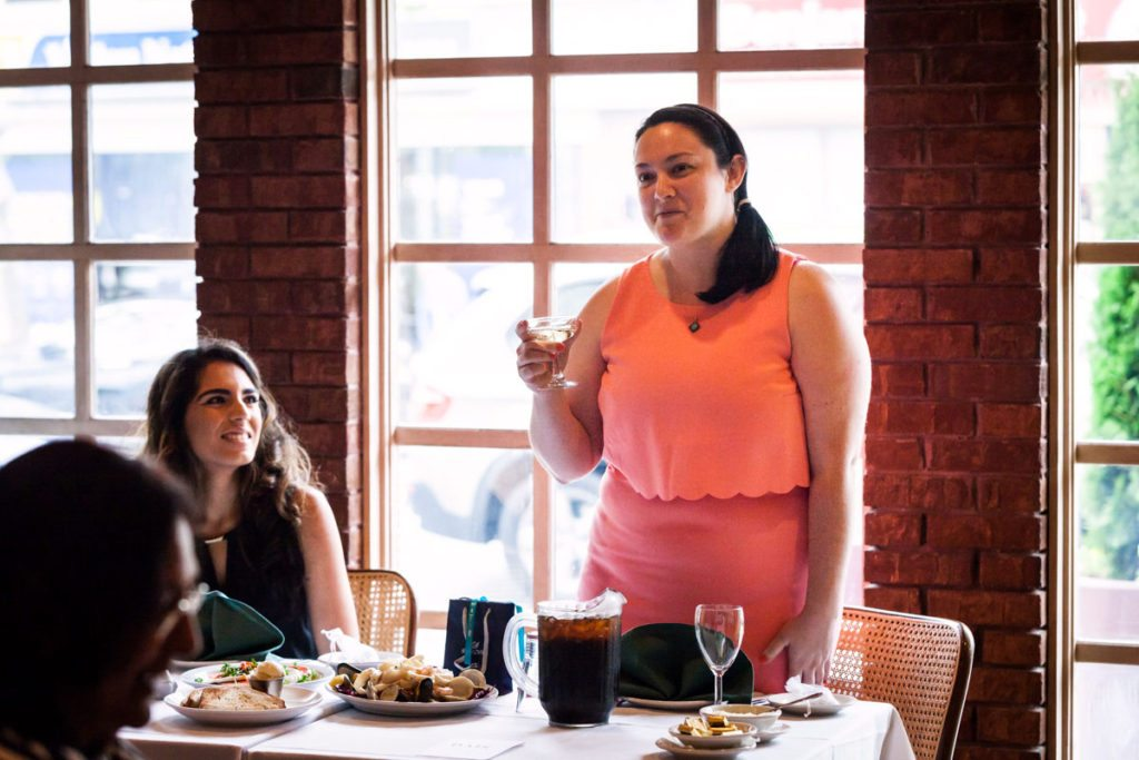 A bridal shower toast by Bay Ridge wedding photographer, Kelly Williams