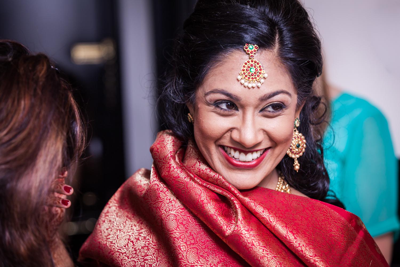 Indian bride wearing traditional sari