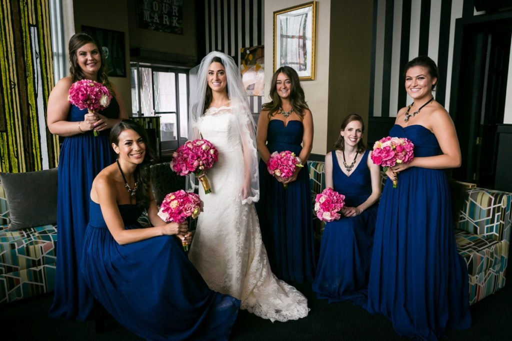 Bridal party portrait by Hoboken wedding photographer, Kelly Williams