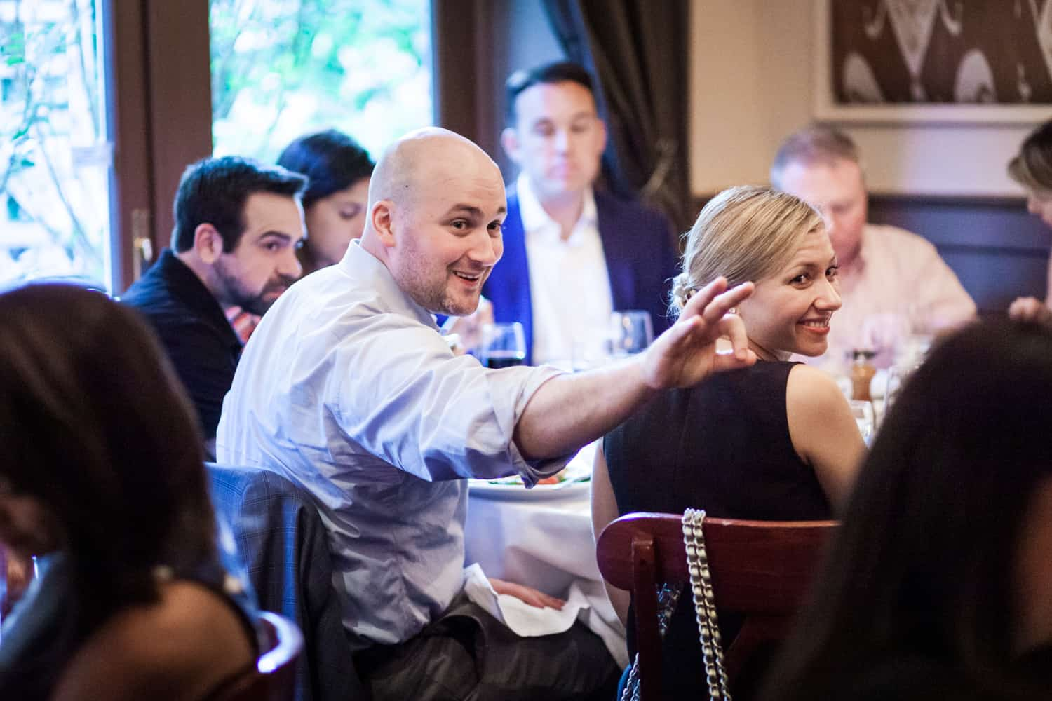 Guests having fun at a Hoboken rehearsal dinner