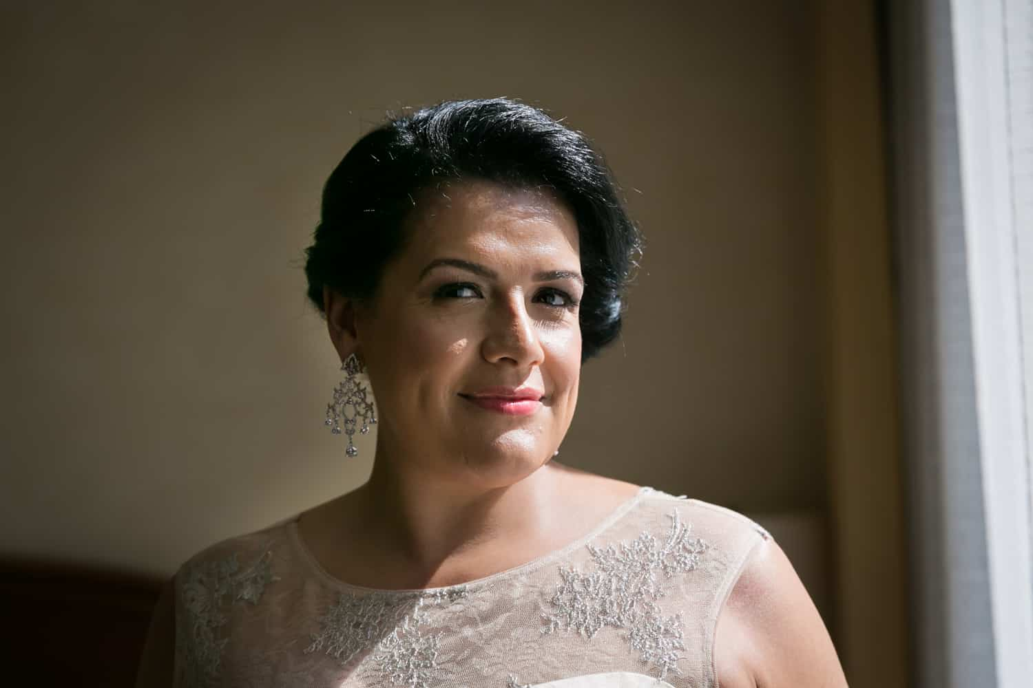 Portrait of a bride with dark brown hair