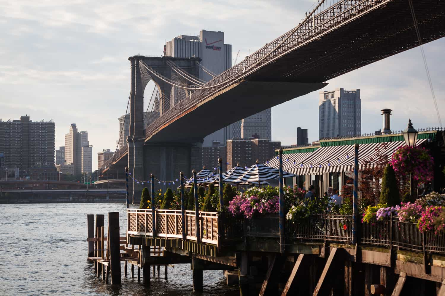 Exterior view of The River Cafe and Brooklyn Bridge