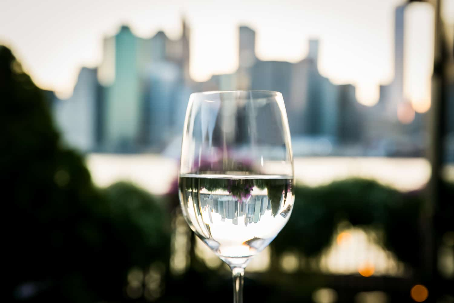 Wine glass filled with water with NYC skyline reflected