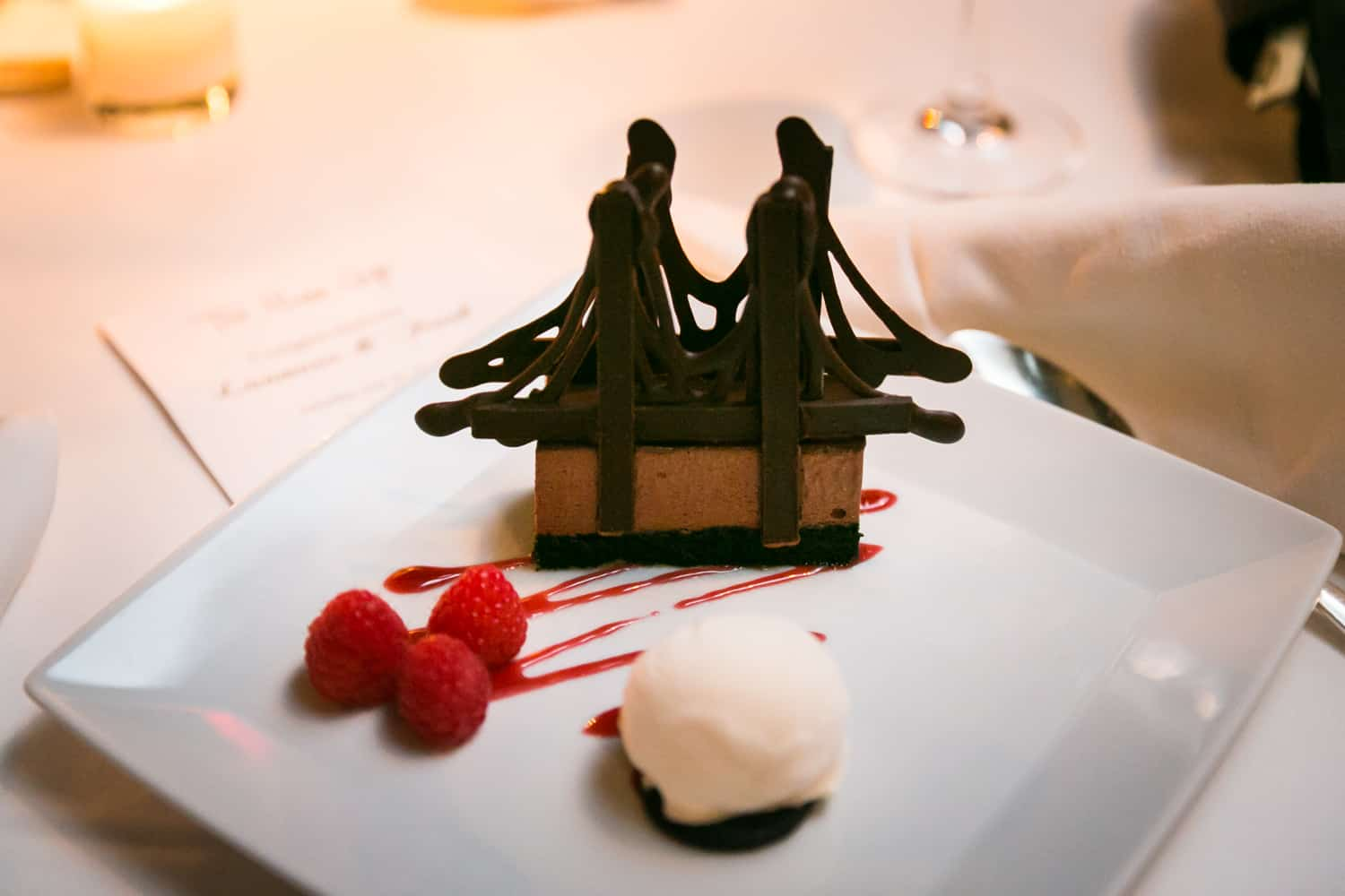 Chocolate dessert in the shape of the Brooklyn Bridge