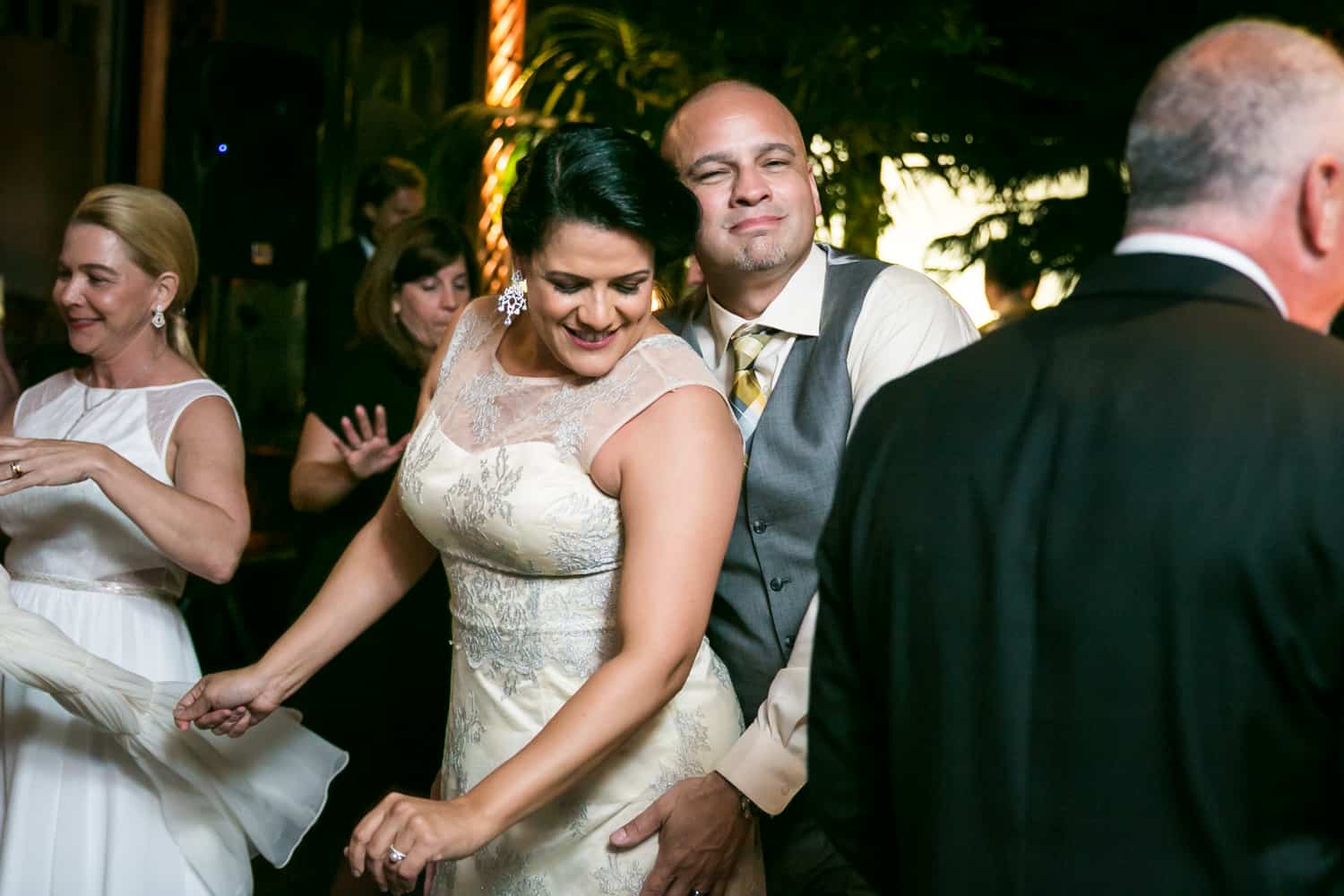 Bride and groom on the dance floor at a River Café wedding in Brooklyn
