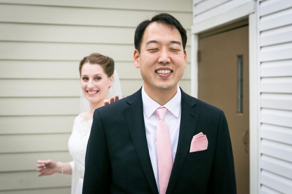 First look photos, by Douglaston Manor wedding photographer, Kelly Williams