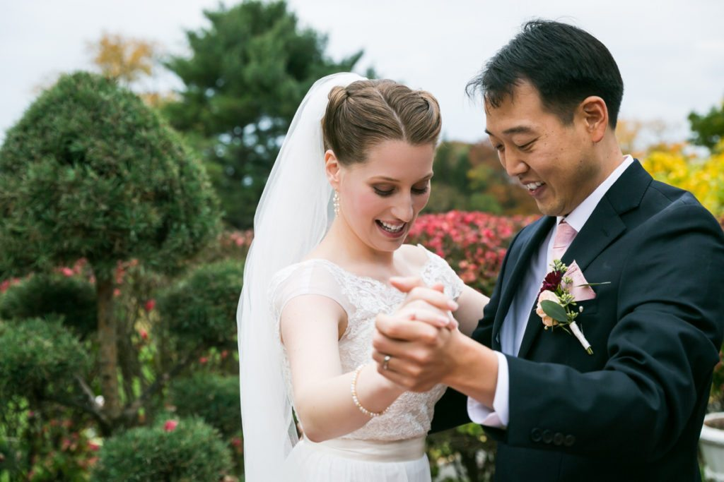 Portrait of the bride and groom, by Douglaston Manor wedding photographer, Kelly Williams