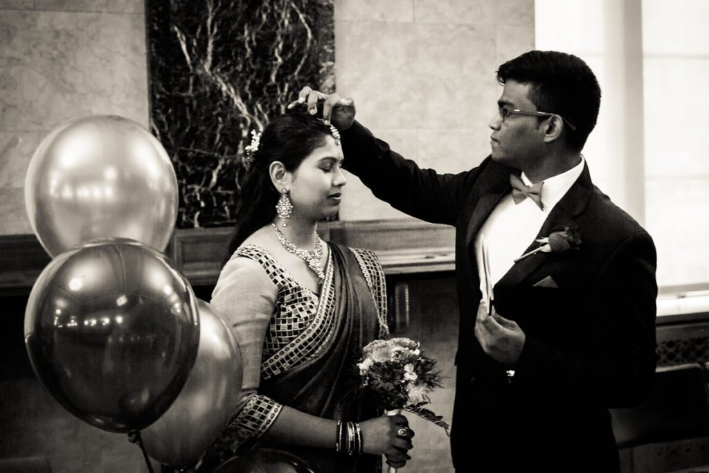 A Sri Lankan couple gets married at the Manhattan Marriage Bureau, by NYC City Hall Indian wedding photographer, Kelly Williams
