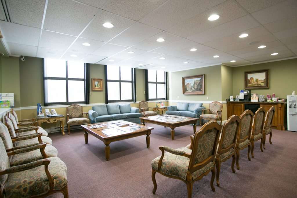 The waiting room of a dental office, as photographed by executive portrait photographer, Kelly Williams