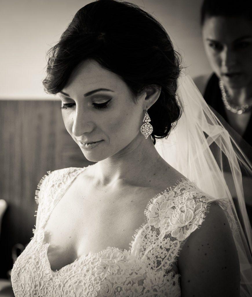 Bride getting ready for her Fordham University Church wedding