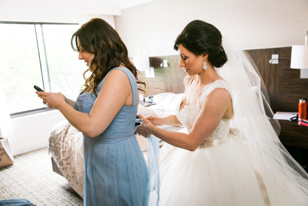 Bride getting ready for her Fordham University Church wedding