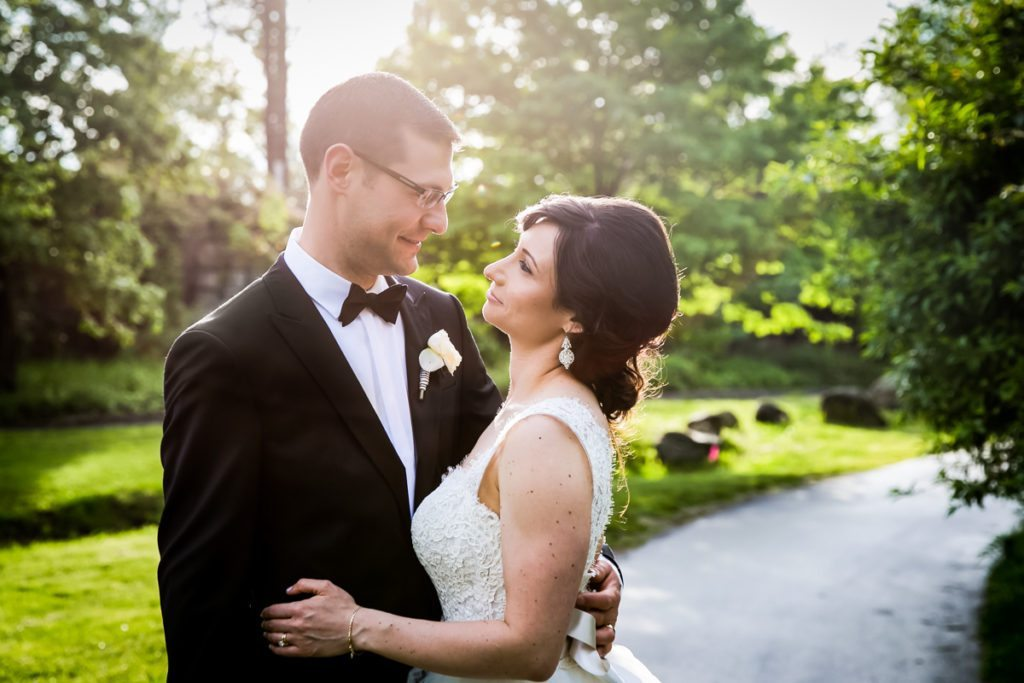 Bride and groom portrait after their Fordham University Church wedding