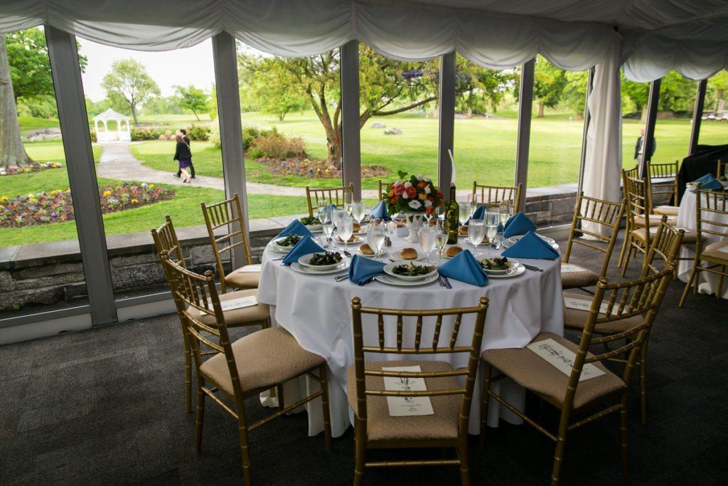Place setting at a Pelham Bay & Split Rock Golf Club wedding reception