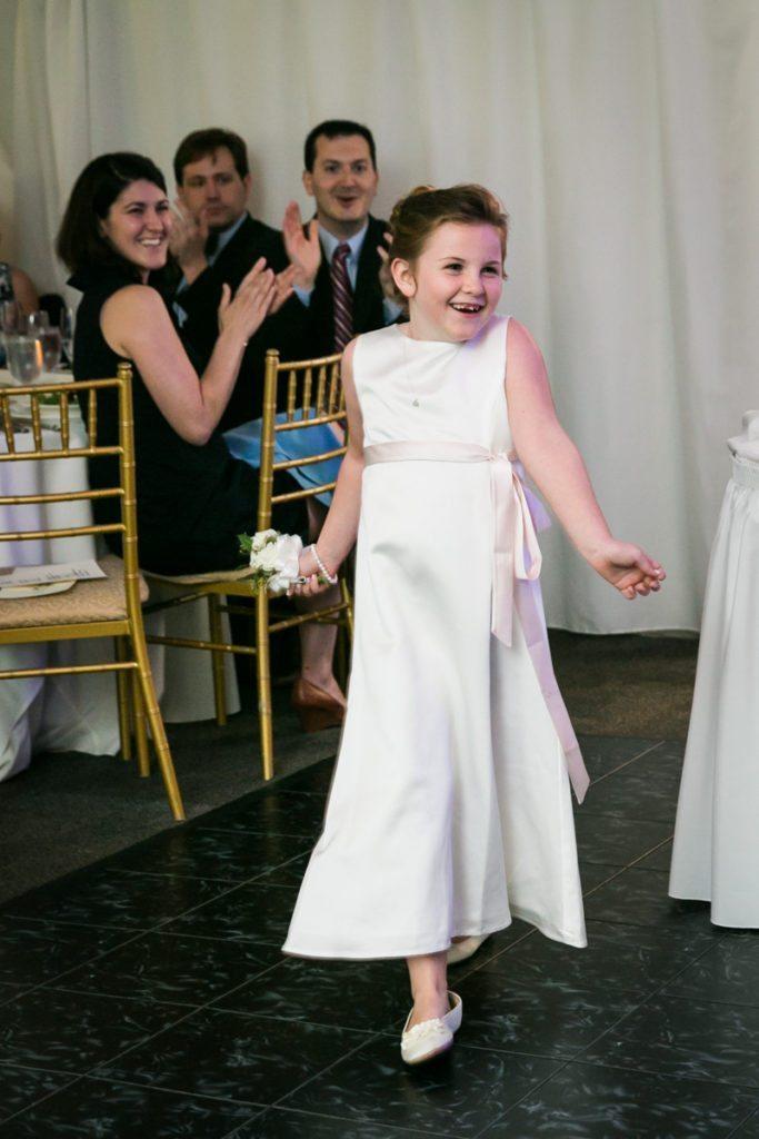 Flower girl introduction at a Pelham Bay & Split Rock Golf Club wedding reception