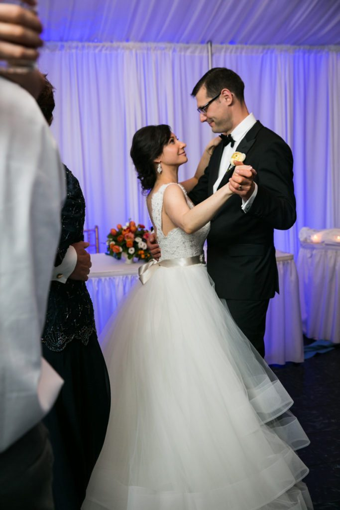 Bride and groom dancing at a Pelham Bay & Split Rock Golf Club wedding reception